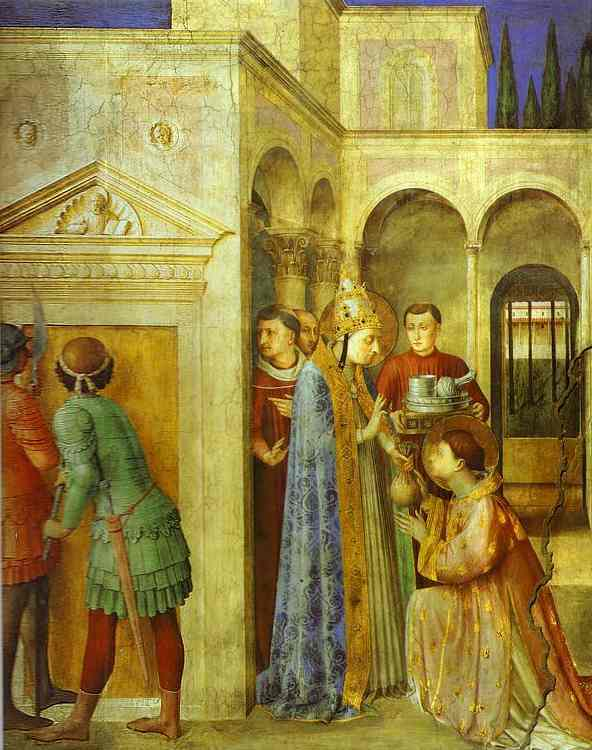 St. Lawrence Receiving the Treasures of the Church from St. Sixtus, Oil by Fra Angelico (1395-1455, Italy)