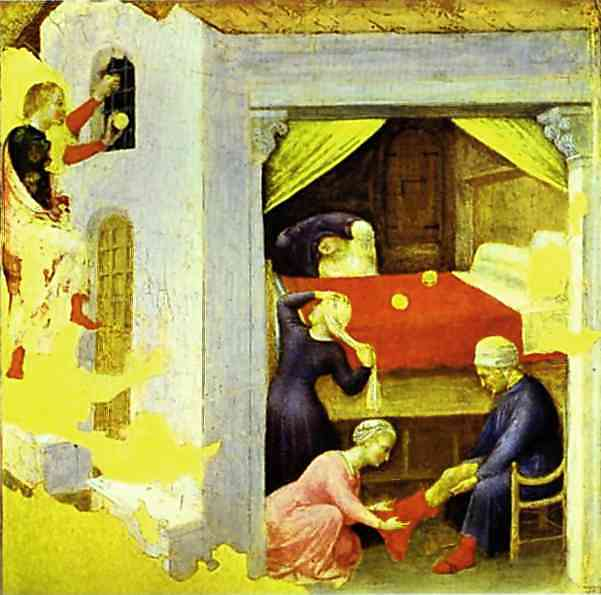 Gentile da Fabriano - St. Nicholas and the Three Gold Balls by Gentile Da Fabriano (1370-1427, Italy) | Oil Painting | WahooArt.com
