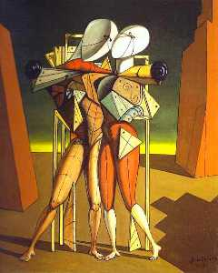 Giorgio De Chirico - Hector and Andromache - (Famous paintings reproduction)