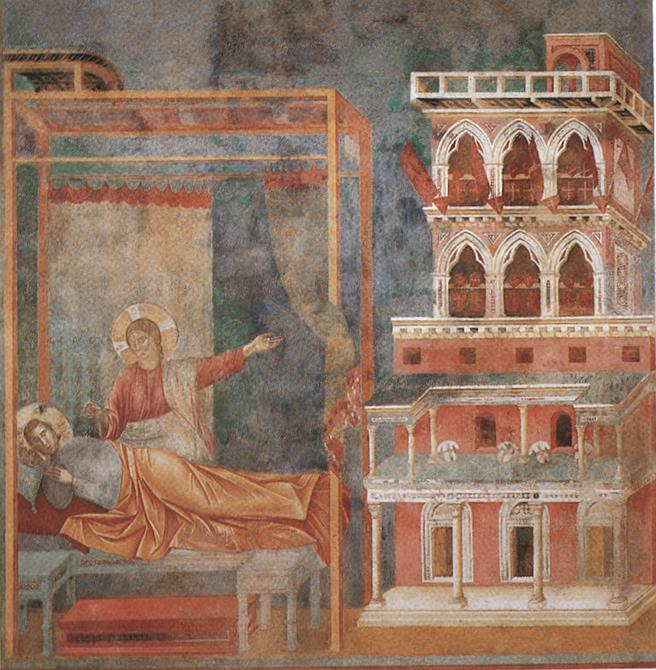Legend of St Francis - [03] - Dream of the Palace by Giotto Di Bondone (1267-1337, Italy) | Famous Paintings Reproductions | WahooArt.com