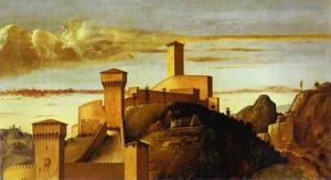 Giovanni Bellini - Pesaro Altarpiece. Background Landscape from the Coronation of the Virgin