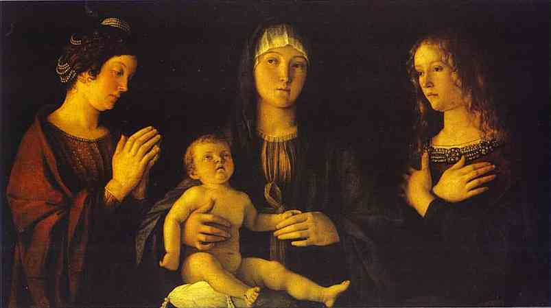 Virgin and Child between St. Catherine and St. Mary Magdalene by Giovanni Bellini (1433-1516, Italy) | Paintings Reproductions Giovanni Bellini | WahooArt.com