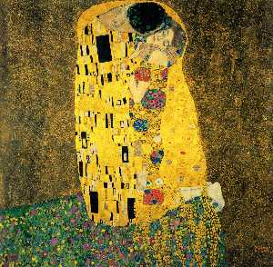 Gustav Klimt - The Kiss (Bacio) - (Famous paintings reproduction)