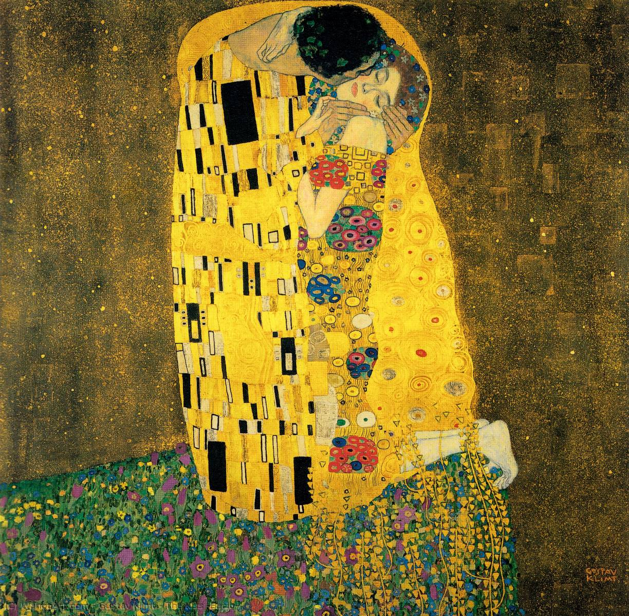 The Kiss (Bacio), Oil by Gustav Klimt (1862-1918, Austria)