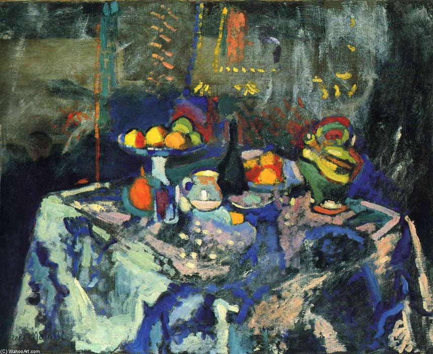 Still Life with Vase, Bottle and Fruit by Henri Matisse (1869-1954, France) |  | WahooArt.com