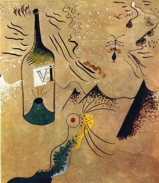 Bottle of Vine, Oil On Canvas by Joan Miro (1893-1937, Spain)