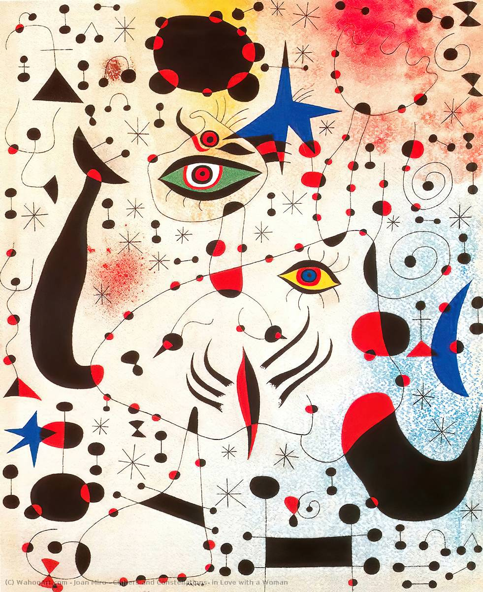 Ciphers and Constellations, in Love with a Woman, Gouache by Joan Miro  (order Fine Art oil painting Joan Miro)