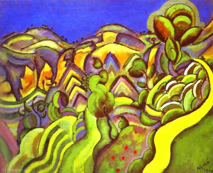 Ciurana, the Path, 1917 by Joan Miro (1893-1937, Spain) | Painting Copy | WahooArt.com