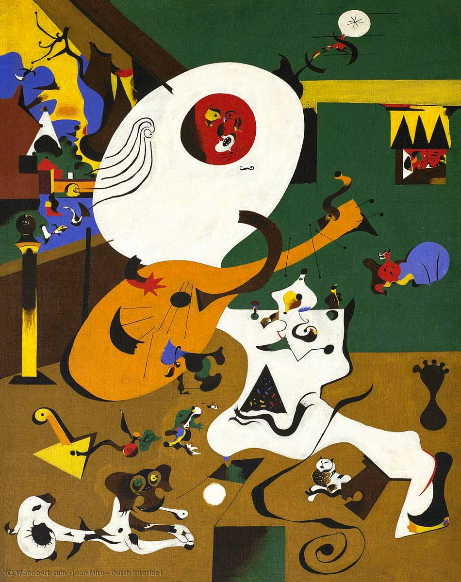 Dutch Interior I, Oil On Canvas by Joan Miro (1893-1983, Spain)