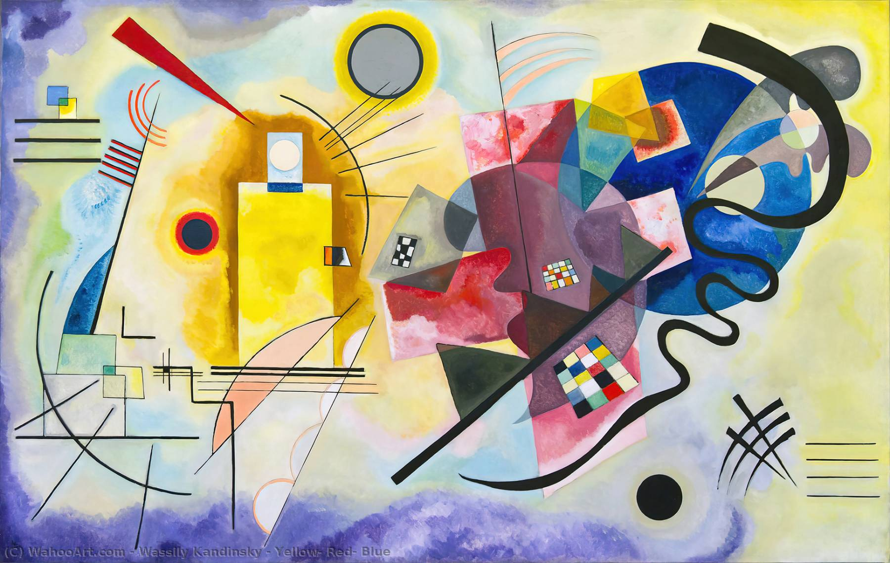 Yellow, Red, Blue, 1925 by Wassily Kandinsky (1866-1944, Russia) | Museum Art Reproductions Wassily Kandinsky | WahooArt.com