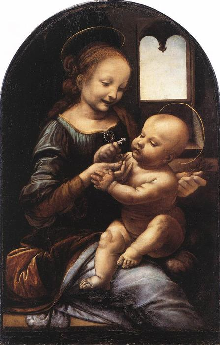 Madonna with a Flower (Madonna Benois), Oil On Canvas by Leonardo Da Vinci (1452-1519, Italy)