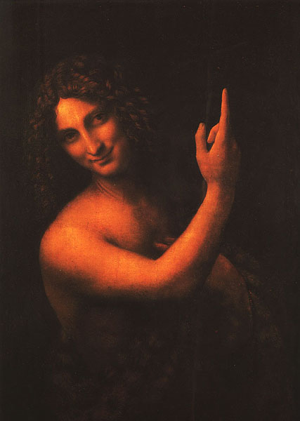 Saint John the Baptist, Oil by Leonardo Da Vinci (1452-1519, Italy)