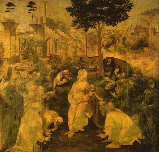 Adoration of the Magi, Ink by Leonardo Da Vinci (1452-1519, Italy)