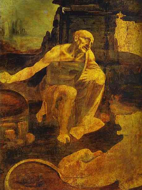 St Jerome in the Wilderness, Oil, Tempera by Leonardo Da Vinci (1452-1519, Italy)