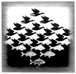 Maurits Cornelis Escher - Sky and Water I