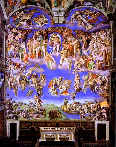 The Last Judgment, Oil by Michelangelo Buonarroti (1475-1564, Italy)