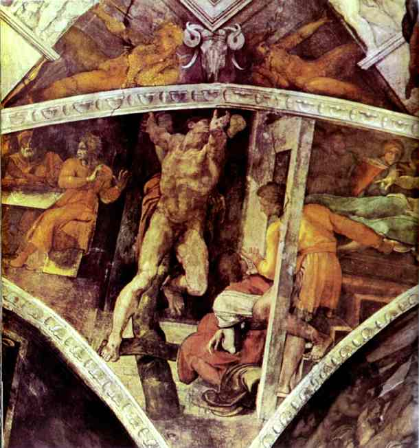 The Punishment of Haman, Oil by Michelangelo Buonarroti (1475-1564, Italy)