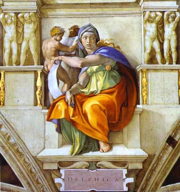 The Sibyl of Delphi, Oil by Michelangelo Buonarroti (1475-1564, Italy)
