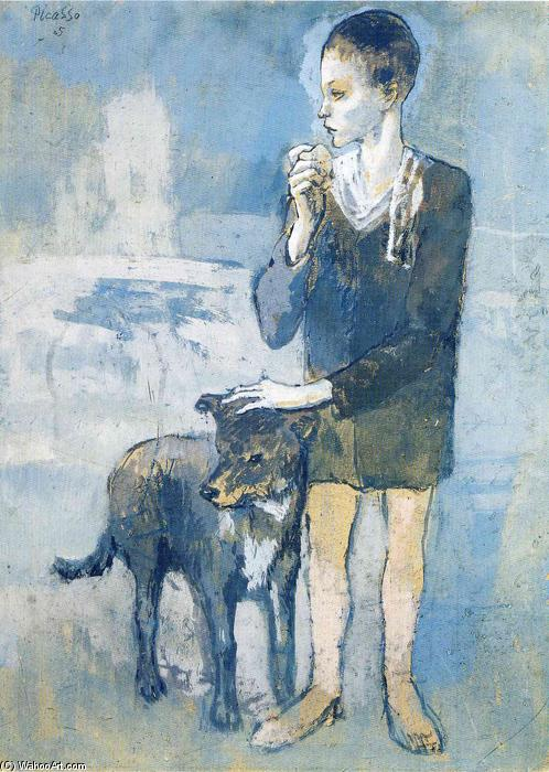 Boy with a Dog, Gouache by Pablo Picasso (1881-1973, Spain)