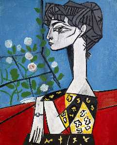 Order Painting Copy : Jacqueline with flowers, 1954 by Pablo Picasso (1881-1973, Spain) | WahooArt.com