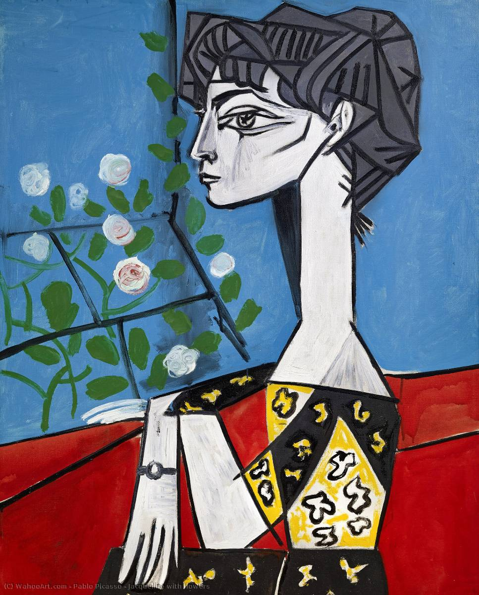 Jacqueline with flowers, Oil On Canvas by Pablo Picasso (1881-1973, Spain)