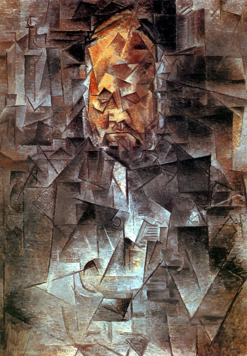 Portrait of Ambroise Vollard, 1910 by Pablo Picasso (1881-1973, Spain) | Famous Paintings Reproductions | WahooArt.com