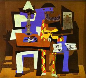 Order Art Reproduction : Three Musicians, 1921 by Pablo Picasso (1881-1973, Spain) | WahooArt.com