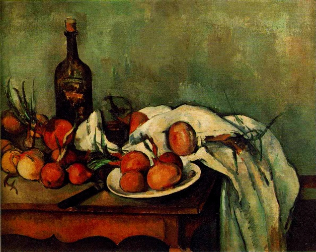 Still Life with Onions and Bottle by Paul Cezanne (1839-1906, France) | Art Reproduction | WahooArt.com