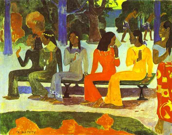 Ta Matete (We Shall Not Go to Market Today) by Paul Gauguin (1848-1903, France) | Museum Quality Reproductions | WahooArt.com