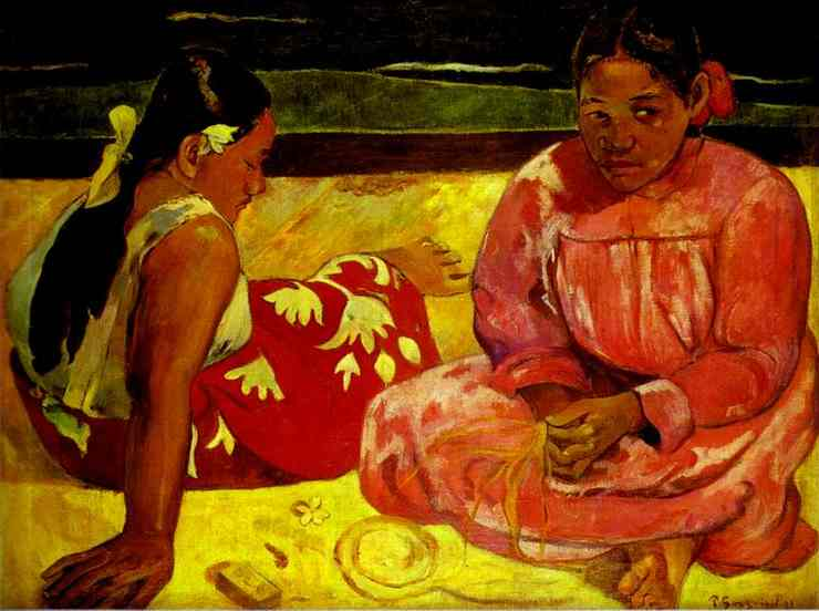 Tahitian Women (On the Beach), Oil by Paul Gauguin (1848-1903, France)