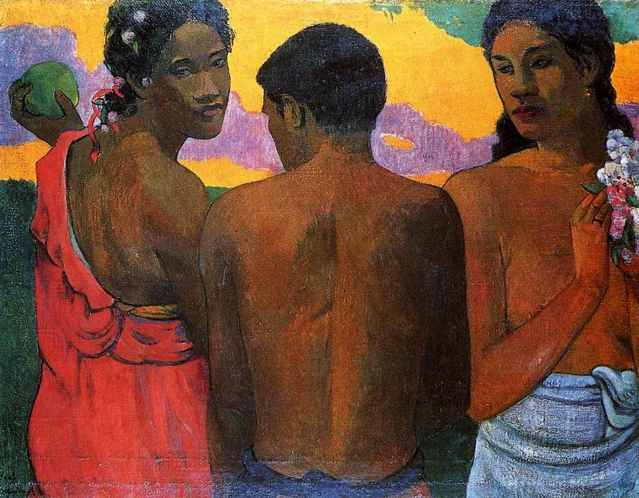 Three Tahitians, Oil On Canvas by Paul Gauguin (1848-1903, France)