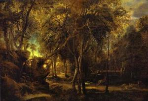 Peter Paul Rubens - A Forest at Dawn with a Deer Hunt