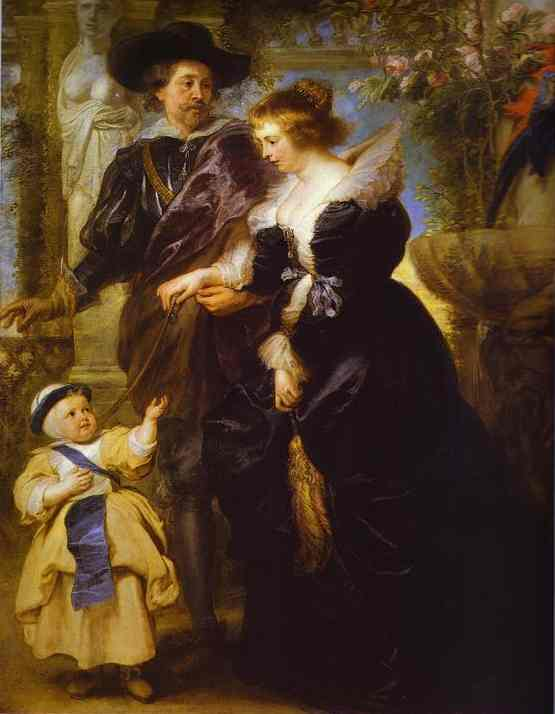 Rubens, his wife Helena Fourment, and their son Peter Paul, Oil On Panel by Peter Paul Rubens (1577-1640, Germany)