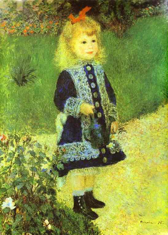 A Girl with a Watering-Can, Oil by Pierre-Auguste Renoir (1841-1919, France)