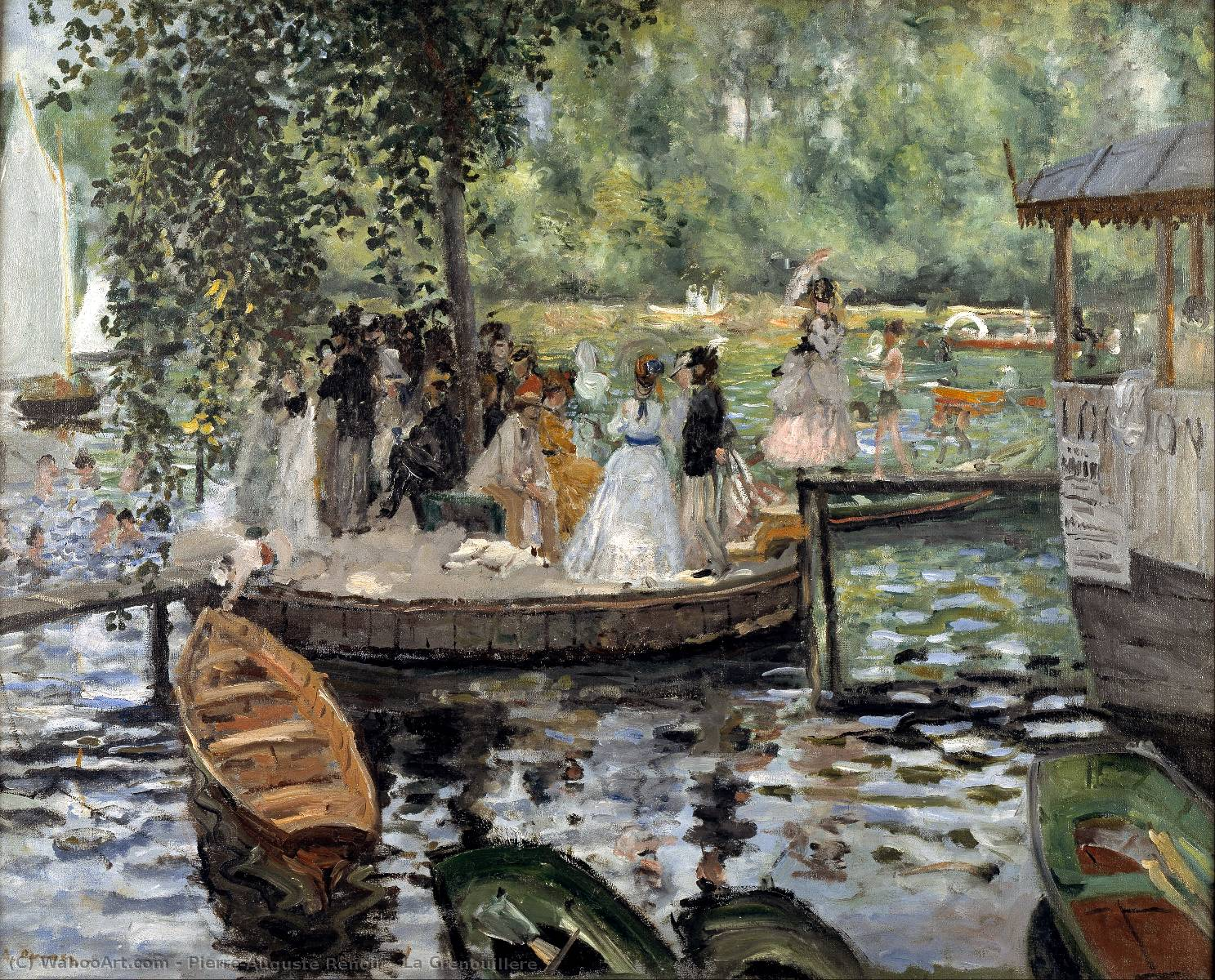 La Grenouillere, Oil On Canvas by Pierre-Auguste Renoir (1841-1919, France)