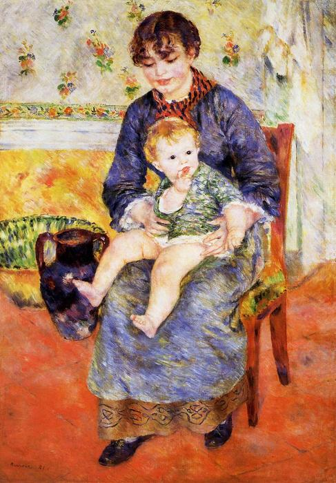 Mother and Child, 1881 by Pierre-Auguste Renoir (1841-1919, France) | Famous Paintings Reproductions | WahooArt.com