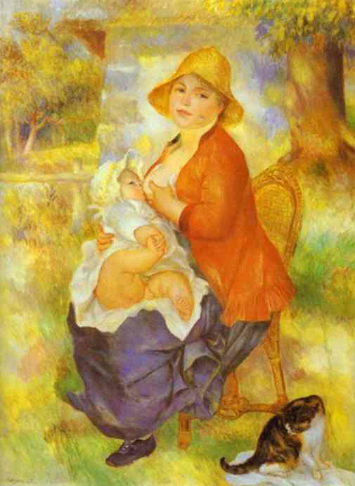 Order Art Reproductions | Mother Nursing Her Child (Aline and Pierre) by Pierre-Auguste Renoir (1841-1919, France) | WahooArt.com