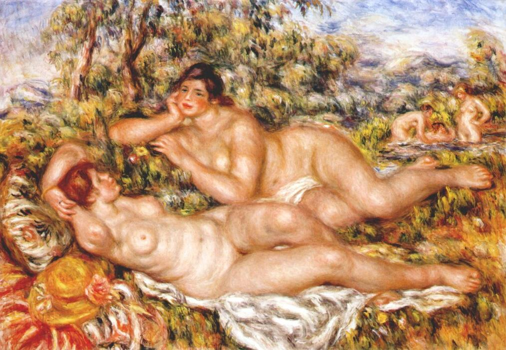 The Great Bathers (The Nymphs), 1919 by Pierre-Auguste Renoir (1841-1919, France) | Famous Paintings Reproductions | WahooArt.com
