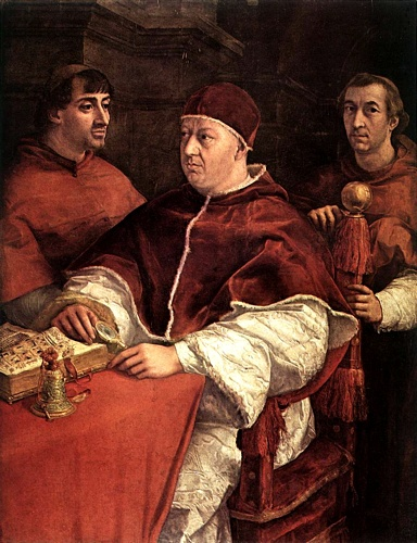 Pope Leo X with Cardinals Giulio de` Medici and Luigi de` Rossi by Raphael (Raffaello Sanzio Da Urbino) (1483-1520, Italy) | Famous Paintings Reproductions | WahooArt.com