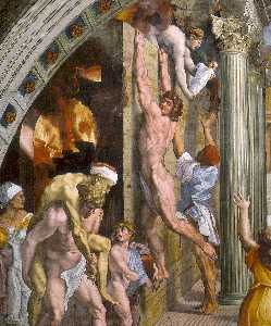 Raphael (Raffaello Sanzio Da Urbino) - Stanze Vaticane - The Fire in the Borgo (detail) [01]