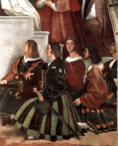 Stanze Vaticane - The Mass at Bolsena (detail) [02], Oil by Raphael (Raffaello Sanzio Da Urbino) (1483-1520, Italy)