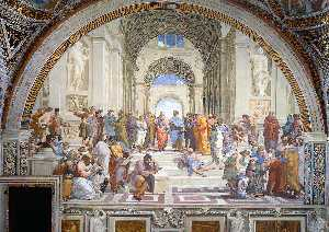 Raphael (Raffaello Sanzio Da Urbino) - Stanze Vaticane - The School of Athens - (Famous paintings reproduction)
