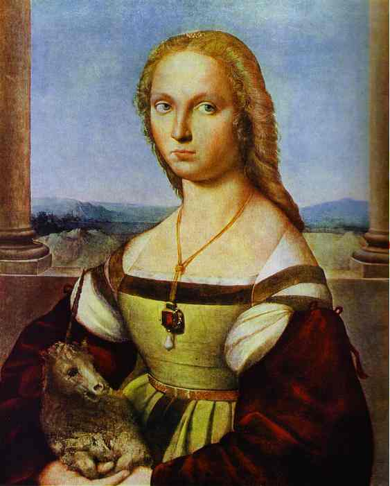 Portrait of a Lady with a Unicorn, Oil by Raphael (Raffaello Sanzio Da Urbino) (1483-1520, Italy)