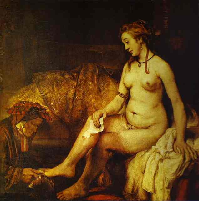 Bathsheba with King David's Letter, Oil by Rembrandt Van Rijn (1606-1669, Netherlands)