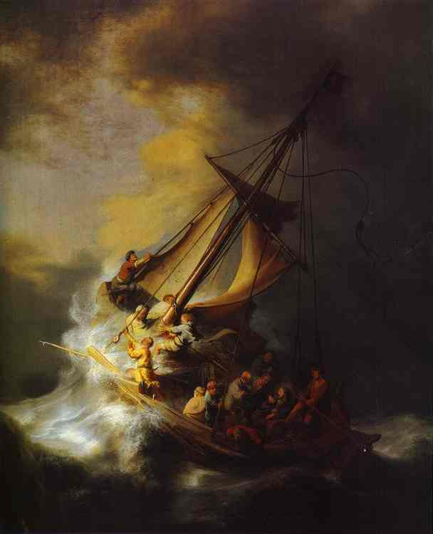 Christ in the Storm on the Lake of Galilee, Oil by Rembrandt Van Rijn (1606-1669, Netherlands)