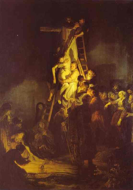 Descent From the Cross, Oil by Rembrandt Van Rijn (1606-1669, Netherlands)