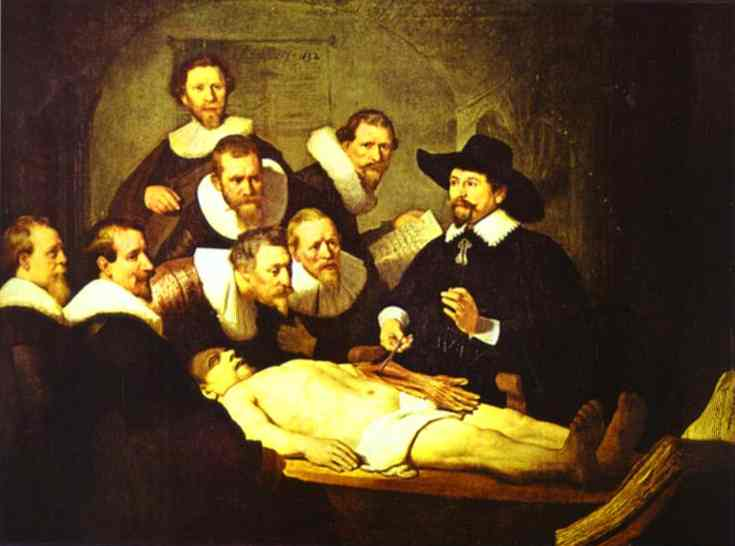 Doctor Nicolaes Tulp's Demonstration of the Anatomy of the Arm, Oil by Rembrandt Van Rijn (1606-1669, Netherlands)