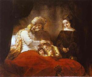 Rembrandt Van Rijn - Jacob Blessing the Sons of Joseph