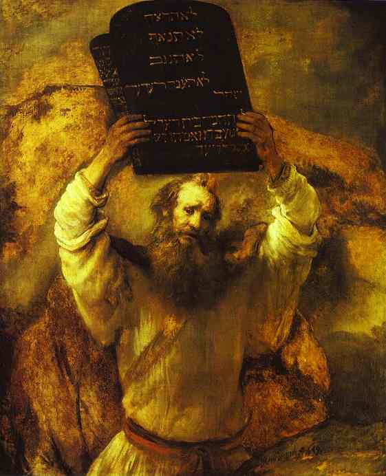 Moses Smashing the Tables of the Law, Oil by Rembrandt Van Rijn (1606-1669, Netherlands)