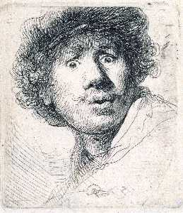 Rembrandt Van Rijn - Self-Portrait with Wide-Open Eyes